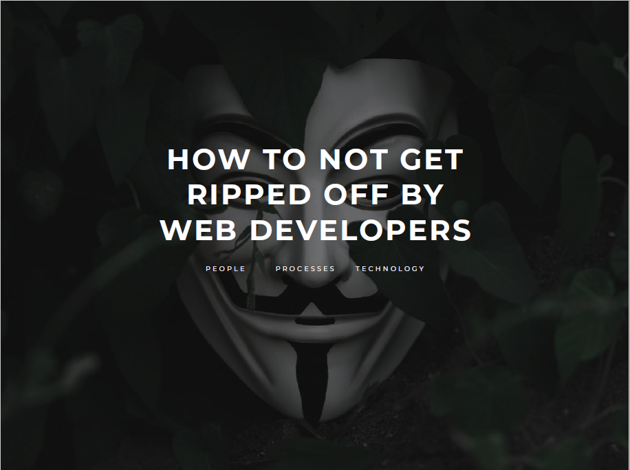 Webapper: How to Not Get Ripped Off by Web Developers