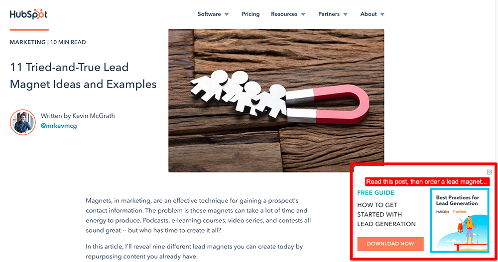 Smart Content Marketing Campaigns: Lead Magnets by Hubspot